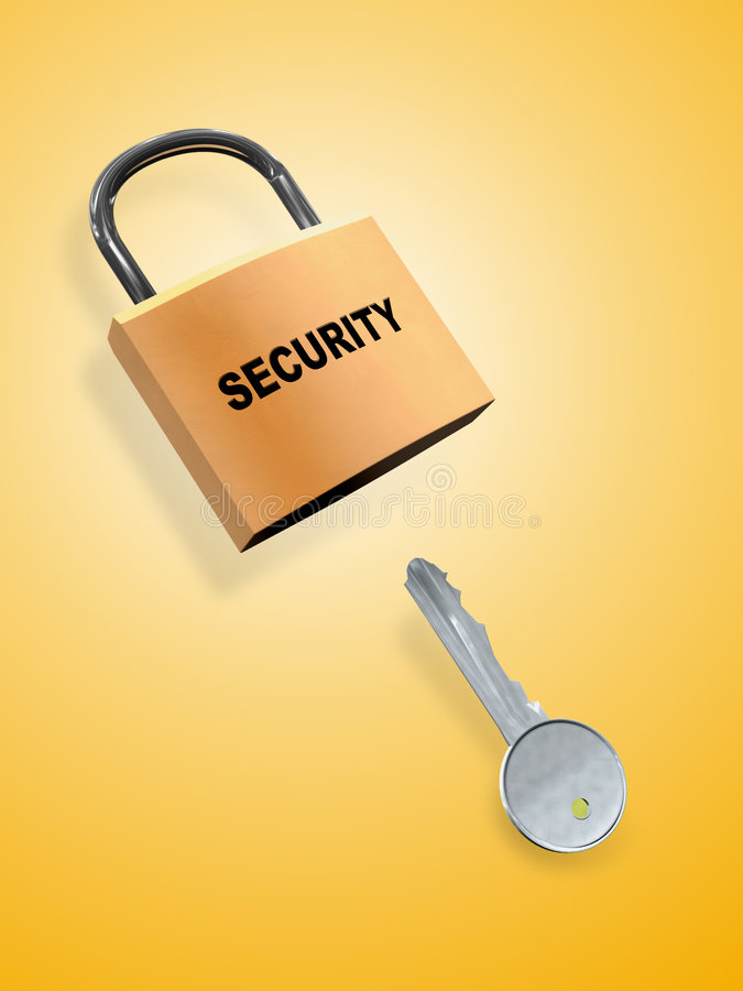 Security key. Key and security lock. Digital illustration stock illustration