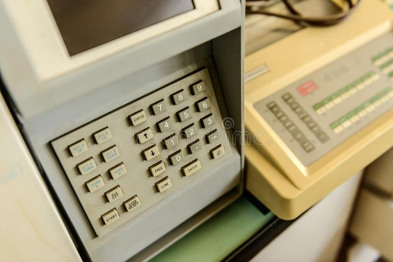 Security keypad closeup photo. On a machine royalty free stock photos