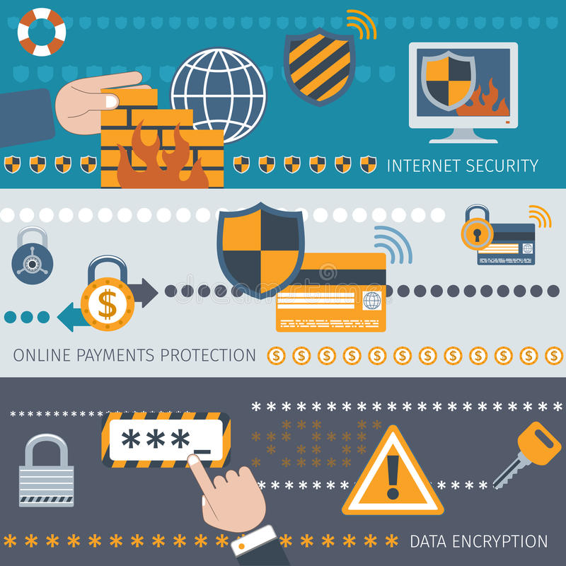 Security line banners set stock illustration