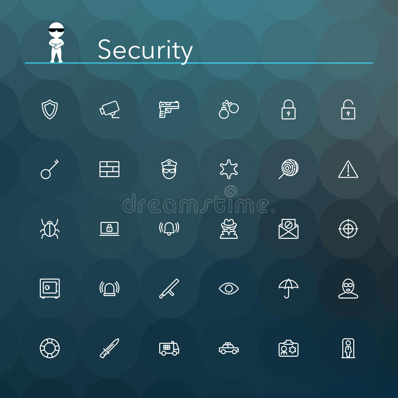 Security Line Icons royalty free illustration