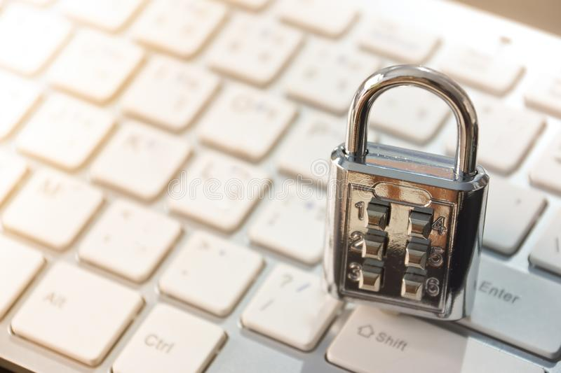Security lock on computer keyboard. Computer security and countermeasure on data encryption concept royalty free stock images