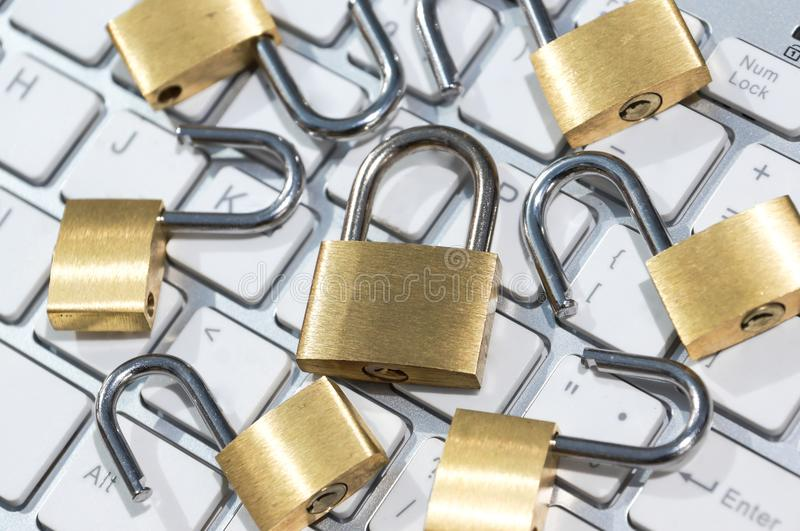 Security lock on computer keyboard. Computer security with data encryption concept royalty free stock image