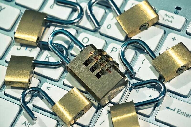Security lock on computer keyboard. Computer security with data encryption concept royalty free stock photos