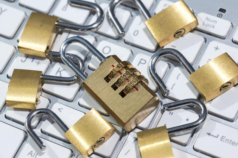 Security lock on computer keyboard. Computer security with data encryption concept stock photo