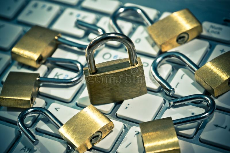 Security lock on computer keyboard. Computer security with data encryption concept royalty free stock photography