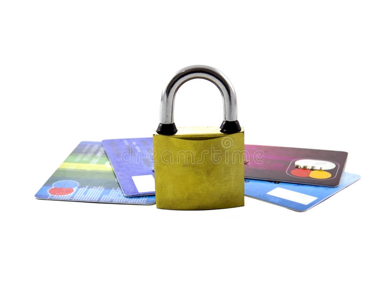 Security lock on credit cards. With white background stock photography