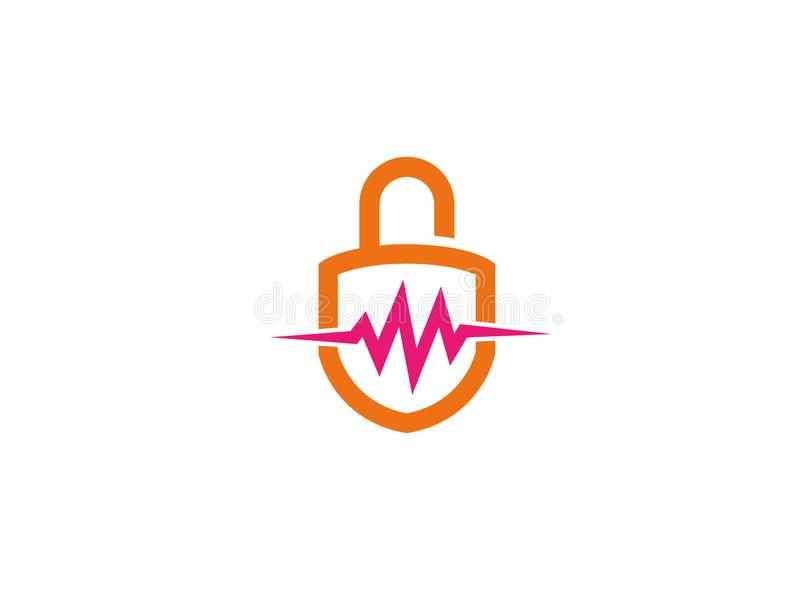 Security Lock with heart beat and guard for logo royalty free illustration