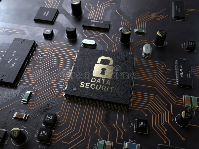 Security lock symbol on circuit board. 3d rendering,conceptual image stock images