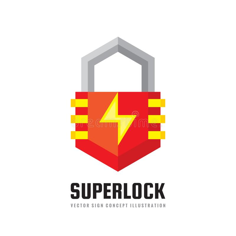 Security lock - vector logo template concept illustration. Protection abstract creative sign. Graphic design element. royalty free illustration