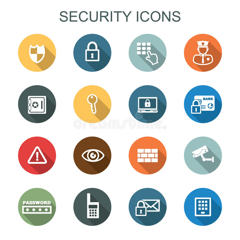 Security long shadow icons stock illustration