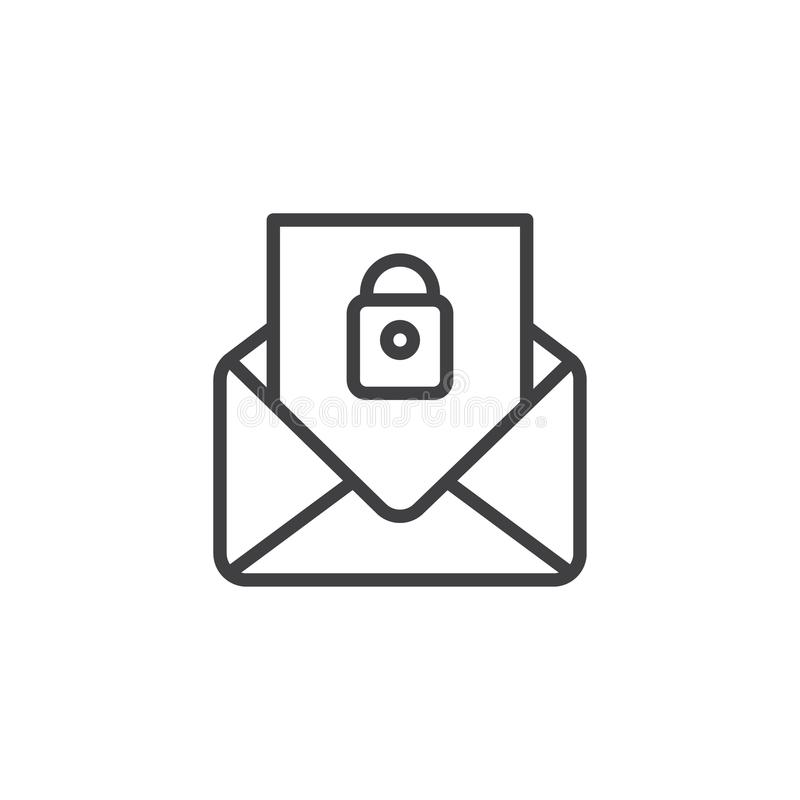 Security mail outline icon. Linear style sign for mobile concept and web design. Secret message simple line vector icon. Symbol, logo illustration. Pixel stock illustration