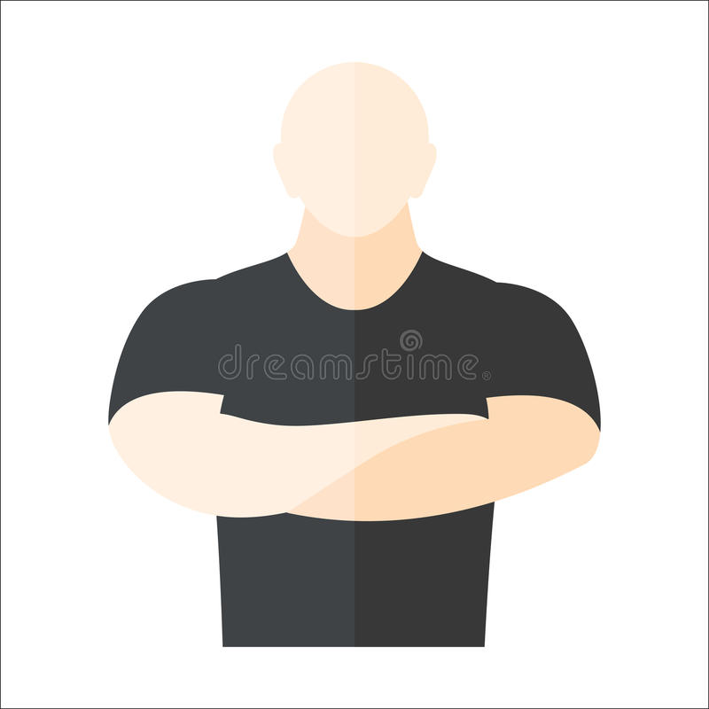 Security man vector illustration. Male security guard standing over white background. Man worker protection guardian human. Vector protect uniform adult danger vector illustration
