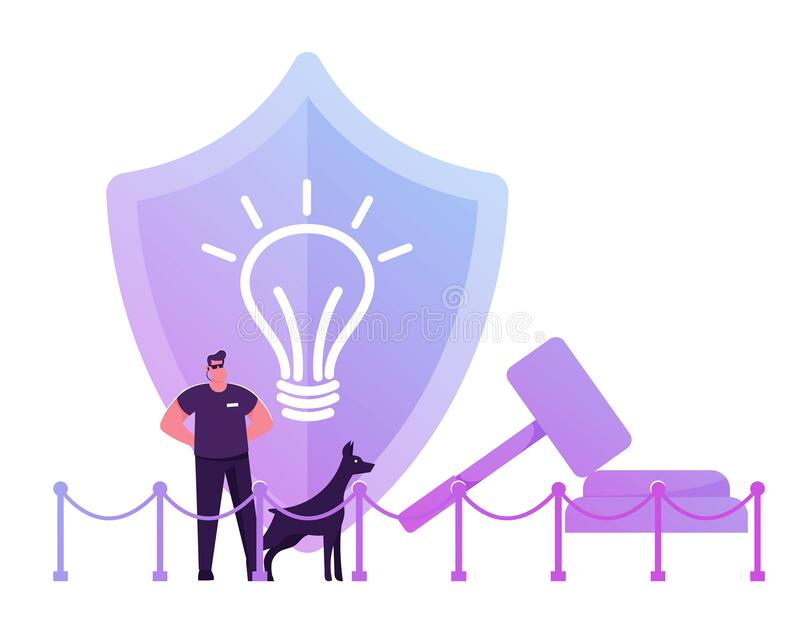 Security Man Wearing Sunglasses and Dark Clothing Stand with Doberman Dog at Huge Shield with Icon of Glowing Light Bulb. And Gavel Protecting Patent Law and royalty free illustration