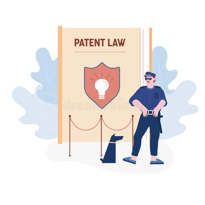 Security Man Wearing Sunglasses and Guardian Uniform Stand with Dog at Huge Book with Shield and Glowing Light Bulb. On Cover Protecting Patent Law and royalty free illustration