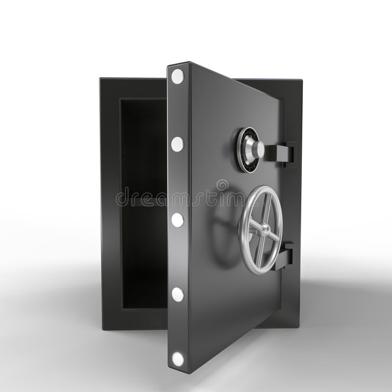 Security metal safe with empty space inside. 3d rendering.  royalty free illustration