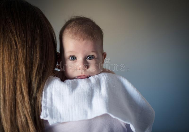 Security of  mother`s shoulder stock images