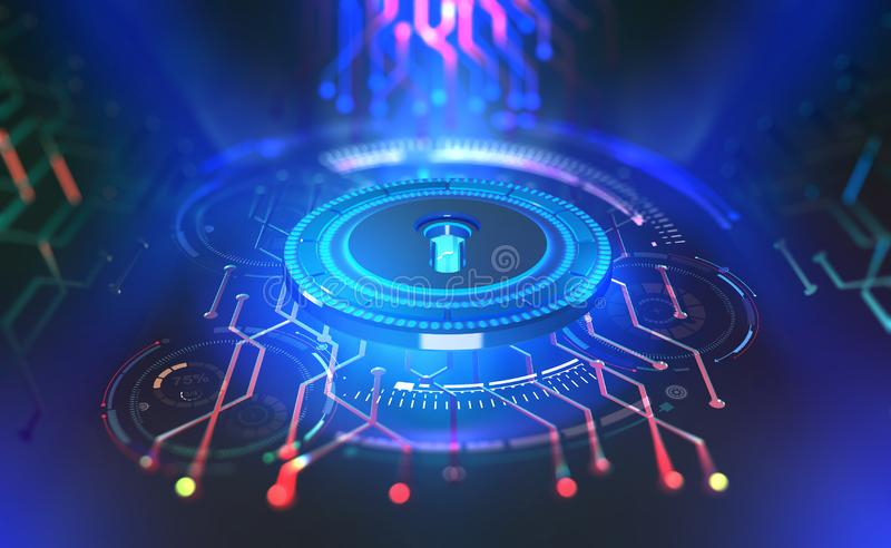 Security online. Data protection. Digital key and identification. Concept of cyberspace of the future. 3D illustration on tech background vector illustration