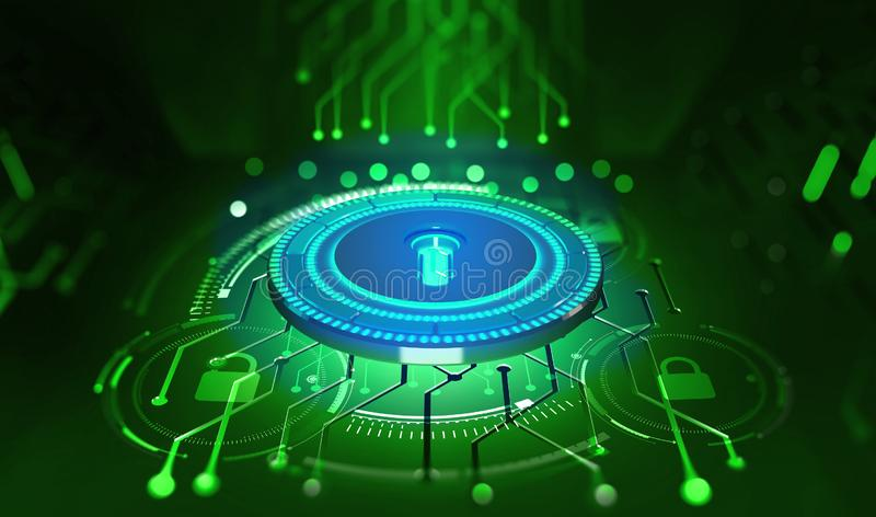 Security online. Data protection. Digital key and identification. Concept of cyberspace of the future. 3D illustration on tech background stock illustration