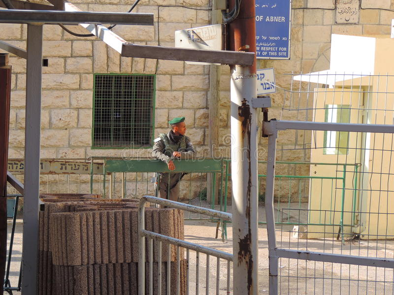 Security outside the Cave of the Patriarchs, Jerusalem. The Cave of the Patriarchs in Hebron, West Bank, also known by Muslims as the Sanctuary of Abraham, is a stock image