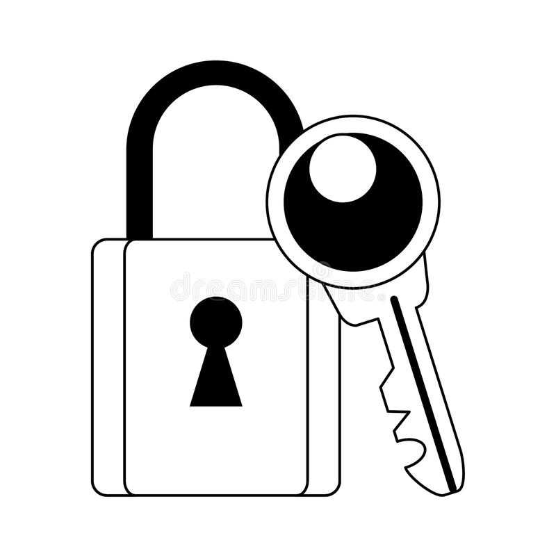 Security padlock and key symbols in black and white royalty free illustration