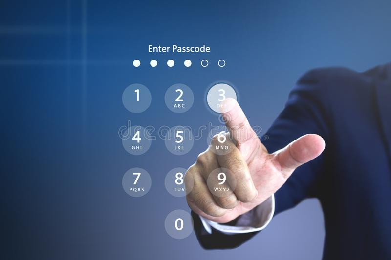 Security passcode or password entering royalty free stock photography