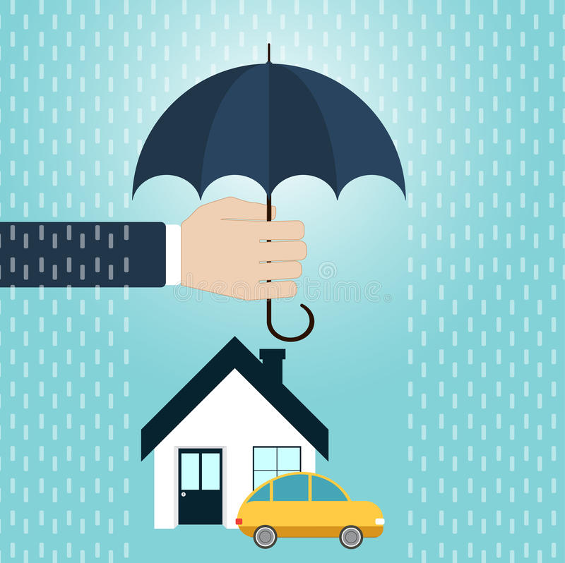 Security of property concept. Hand hold umbrella over house, car. Security of property concept. Agent holding umbrella over house, car. Vector illustration stock illustration