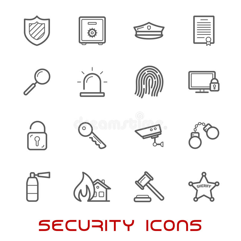 Security and protection thin line style icons stock illustration