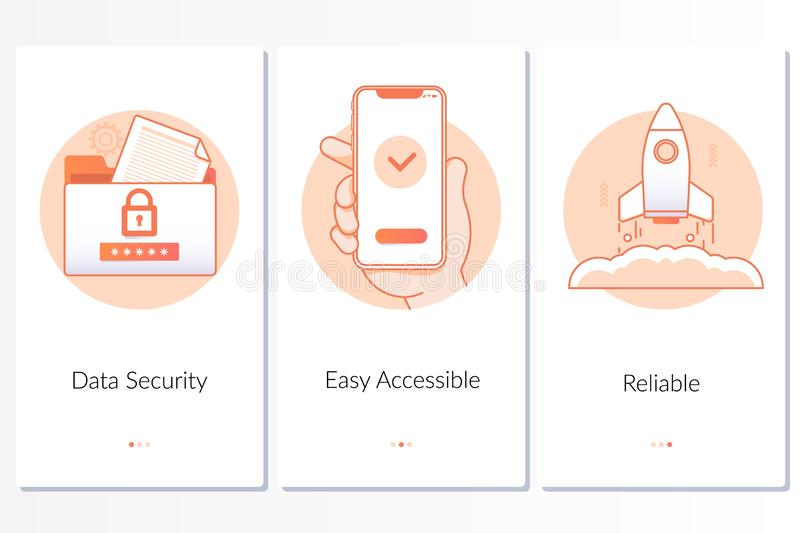 Security, quick and easy launch, reliable service steps graphic instruction.Modern blue interface UX, UI GUI screen. Template for smart phone or web site stock illustration