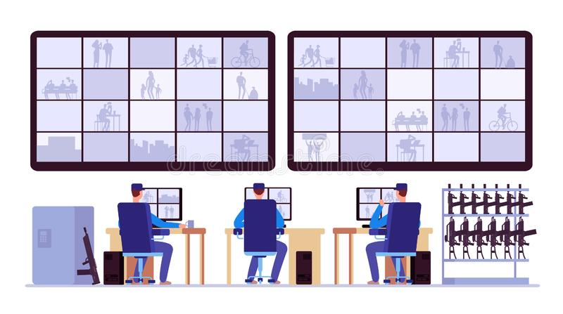 Security room. Professionals monitoring in control center with cctv monitors. Cctv monitor center room, monitoring security illustration vector illustration