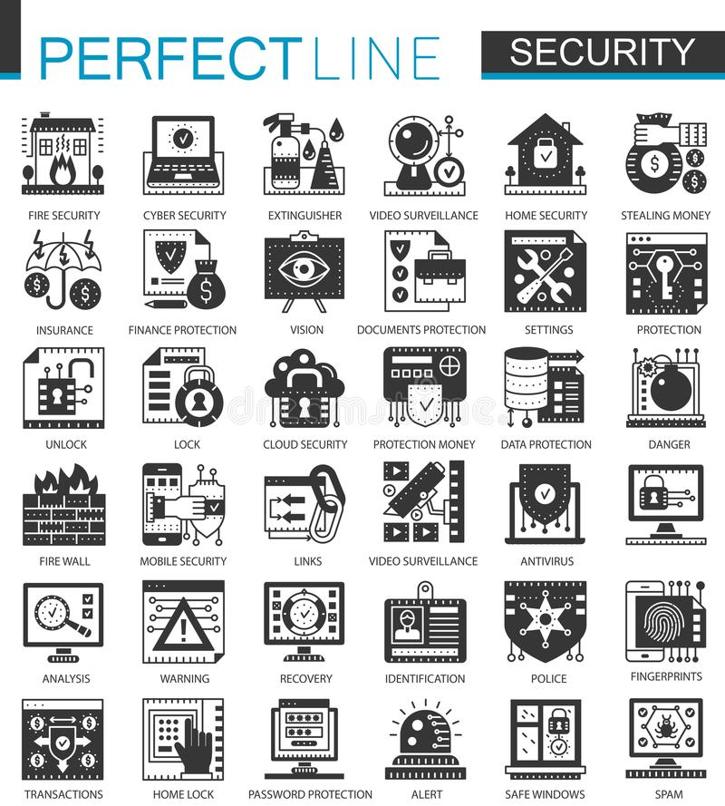 Security and safety black mini concept icons and infographic symbols set royalty free illustration
