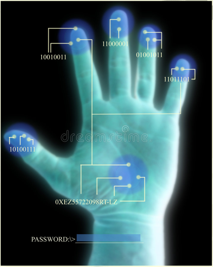 Security Scan of Hand. In blue, with binary scan data