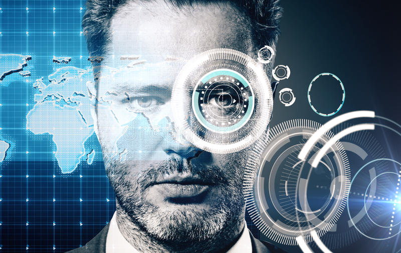 Security scanning concept. Portrait of male with abstract digital pattern on eye. Security scanning concept royalty free stock images