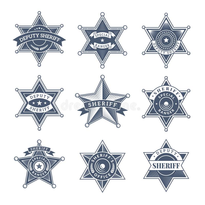 Free Security Sheriff Badges. Police Shield And Officers Logo Texas Rangers Vector Symbols Stock Photo - 127660500