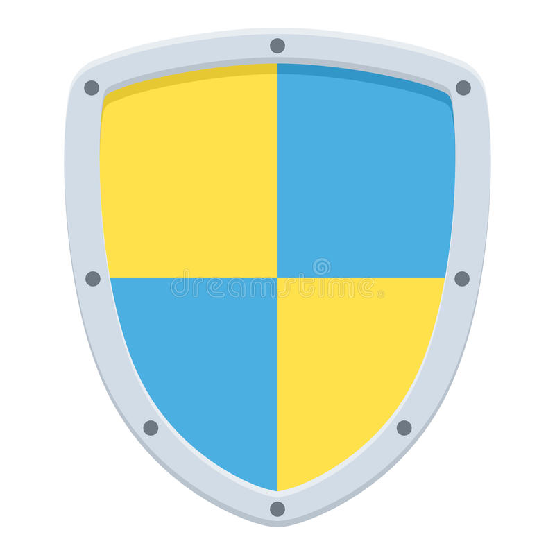 Security Shield Flat Icon Isolated on White. Blue and yellow security shield flat icon, isolated on white background. Eps file available vector illustration
