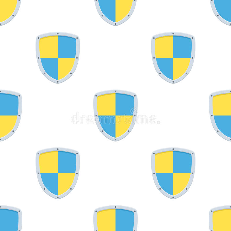 Security Shield Flat Icon Seamless Pattern royalty free illustration