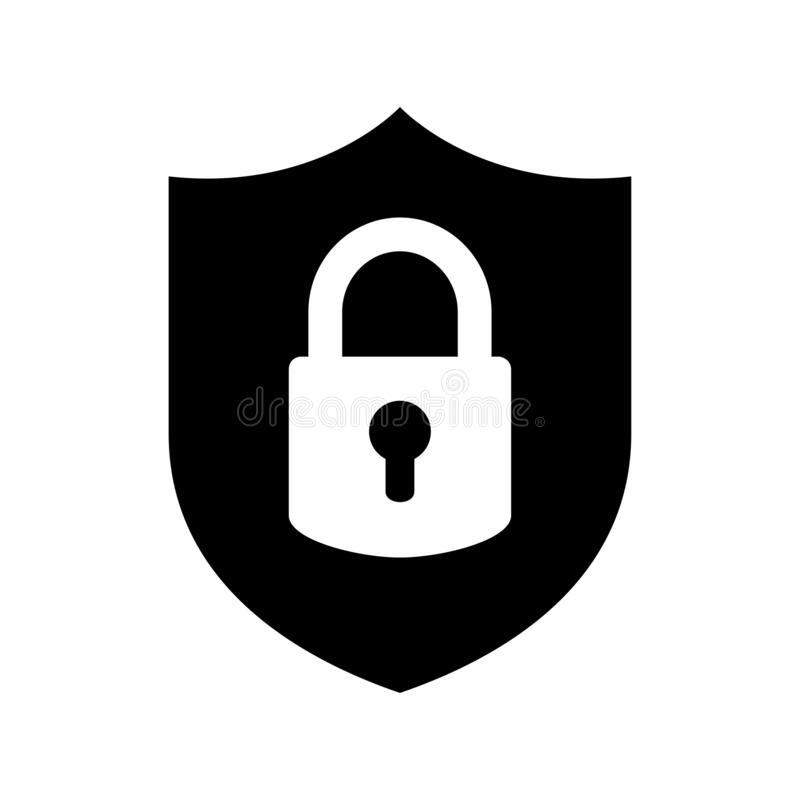 Security shield icon. Isolated on white background stock illustration