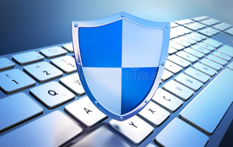 Security shield on keyboard - concept computer security vector illustration