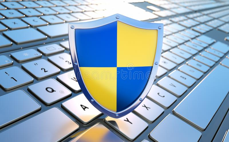Security shield on keyboard - concept security vector illustration