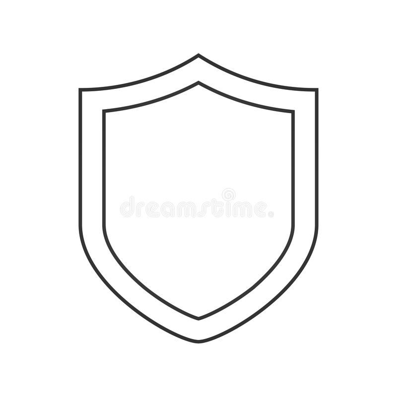 Security shield line icon, outline vector sign, linear style pictogram isolated on white. Protection shield symbol, logo illustrat stock illustration