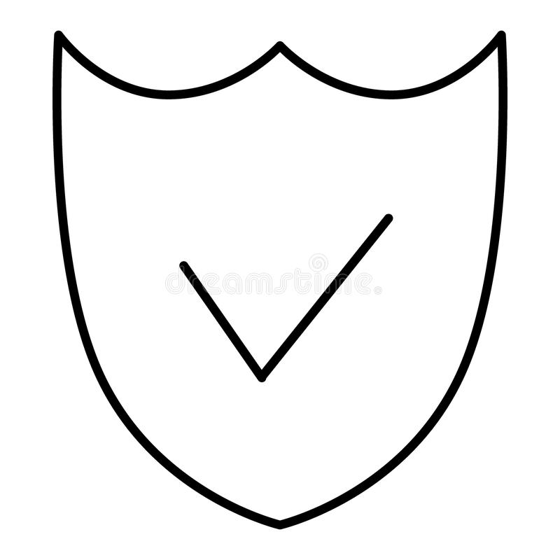 Security Shield Line Icon. Shield vector icon isolated on white. Flat thin outline style. Eps 10 stock illustration