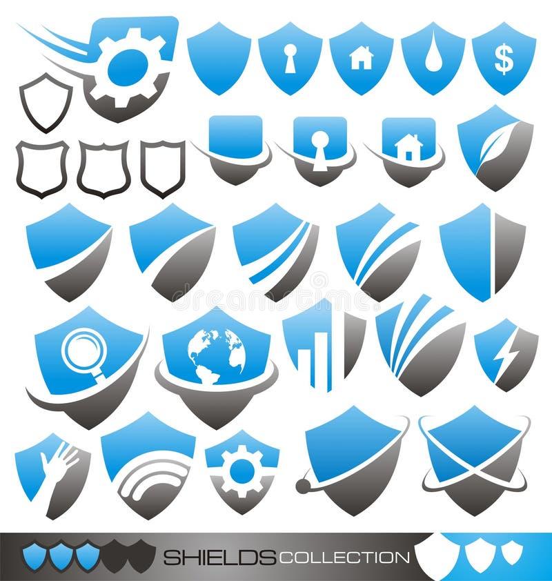 Security shield - symbols, icons and logos royalty free illustration