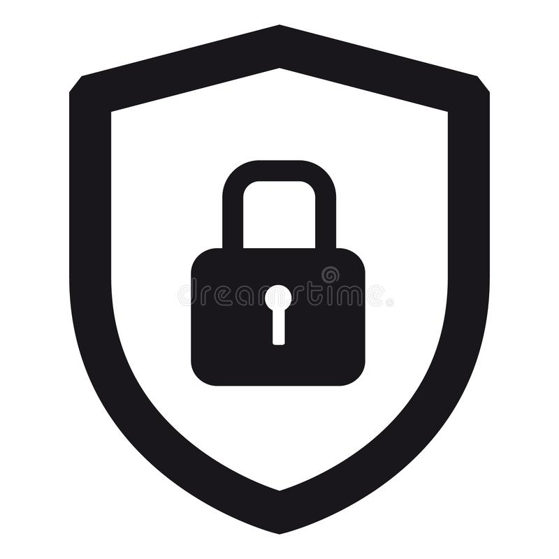 Security Shield Or Virus Shield Lock Icon For Apps And Websites - Isolated On White stock illustration
