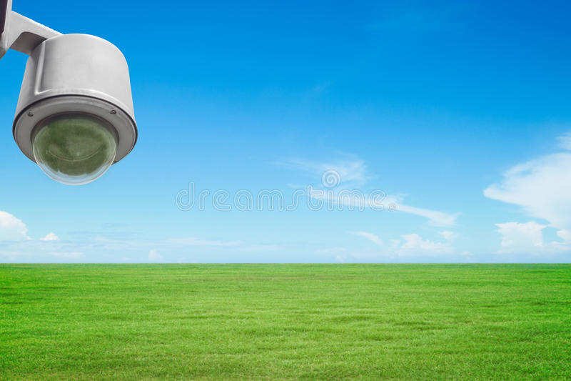 Security surveillance camera or cctv in park royalty free stock photo