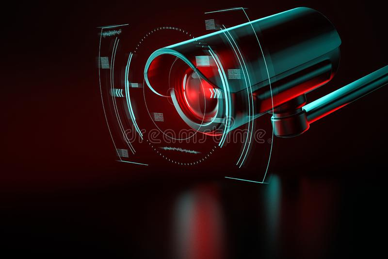 Security surveillance camera with interface or HUD around it on an even background. 3D rendering. Security surveillance camera with interface or HUD around it on vector illustration