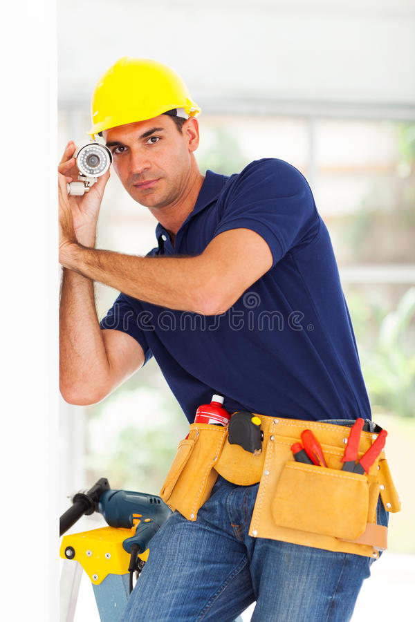 Security surveillance technician royalty free stock photography