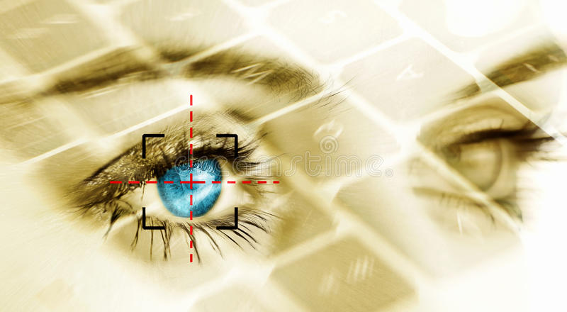 Security system. Eye system security identification concept
