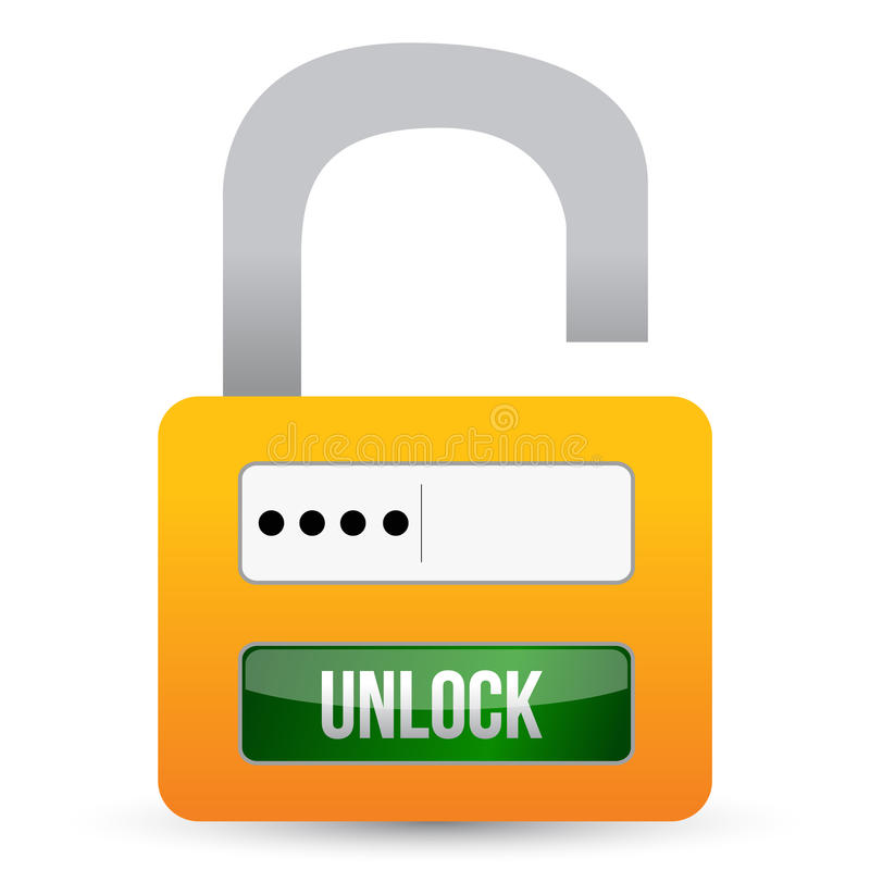 Security system of the lock. Illustration design over white stock illustration