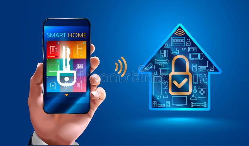 Security system for smart home vector illustration