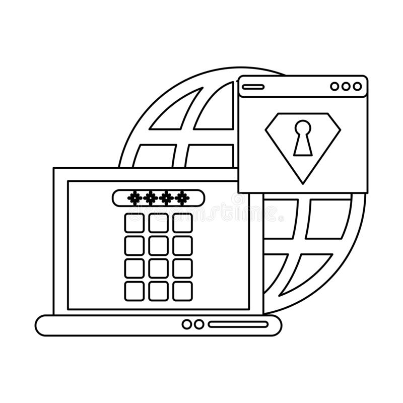 Security system technology black and white. Security system technology laptop locked and webiste vector illustration graphic design stock illustration
