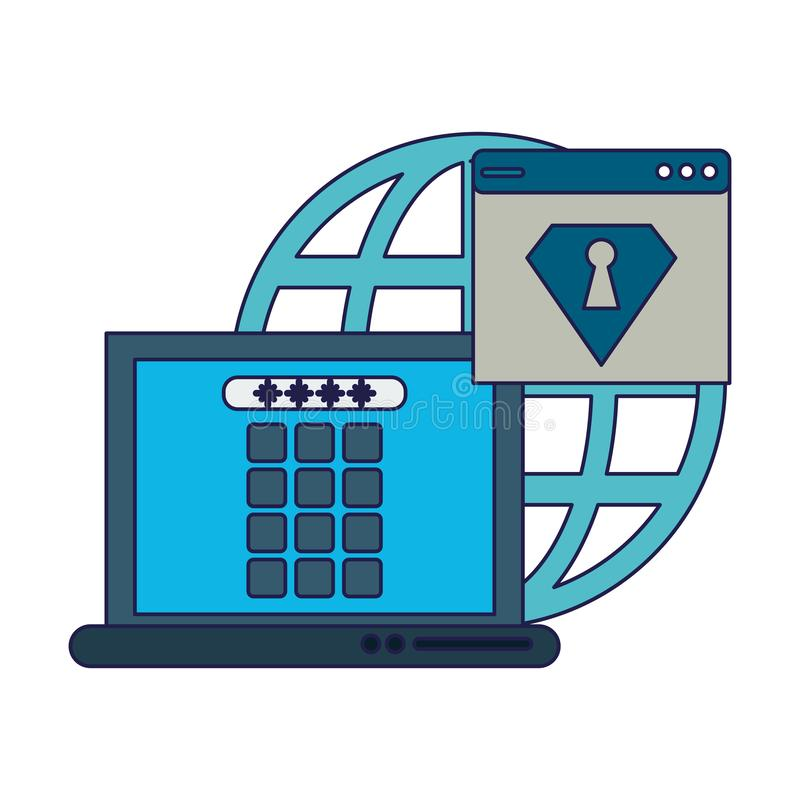 Security system technology blue lines. Security system technology laptop locked and webiste vector illustration graphic design vector illustration